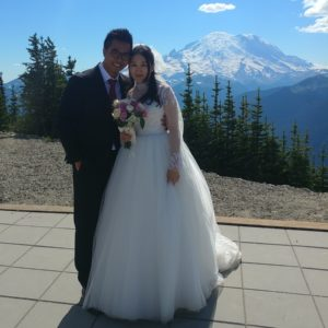 Reverend Jim Beidle married this couple at Crystal Mountain