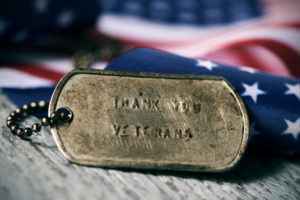 Thank you veterans in a dog tag